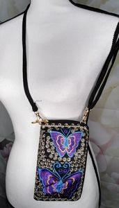 Embroidered Butterfly Wallet / Crossbody